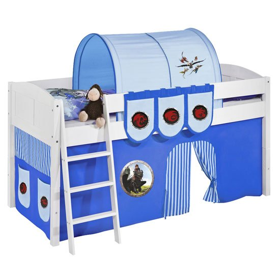 Hilla Children Bed In White With Dragons Blue Curtains_2