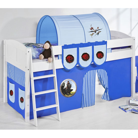 Hilla Children Bed In White With Dragons Blue Curtains