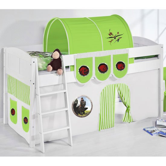 Hilla Children Bed In White With Dragons Green Curtains