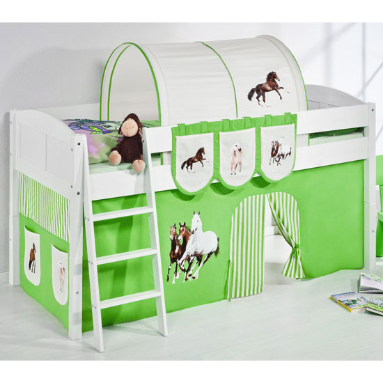 Hilla Children Bed In White With Horses Green Curtains