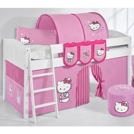 Hilla Children Bed In White With Kitty Pink Curtains
