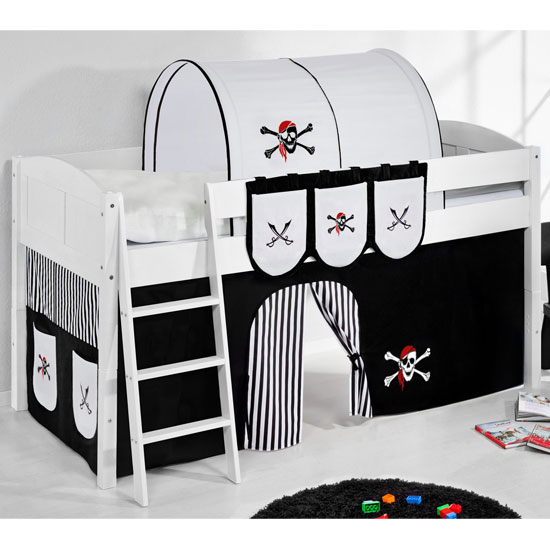 Hilla Children Bed In White With Pirate Black White Curtain