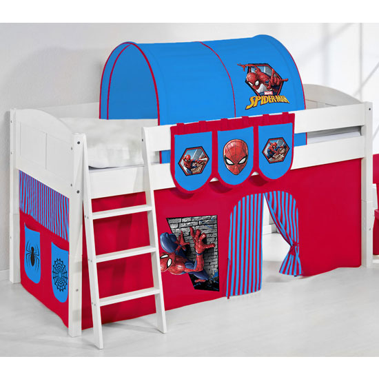 Hilla Children Bed In White With Spiderman Curtains