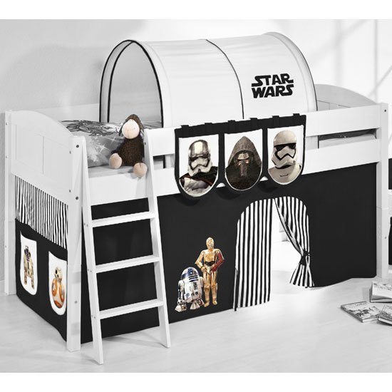 Hilla Children Bed In White With Star Wars Black Curtains
