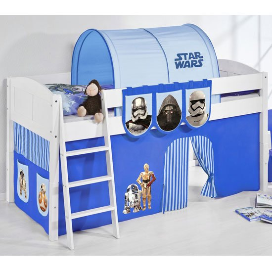 Hilla Children Bed In White With Star Wars Blue Curtains