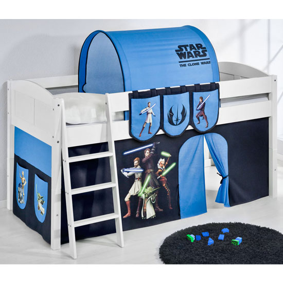 Hilla Children Bed In White With Star Wars Clone Curtains