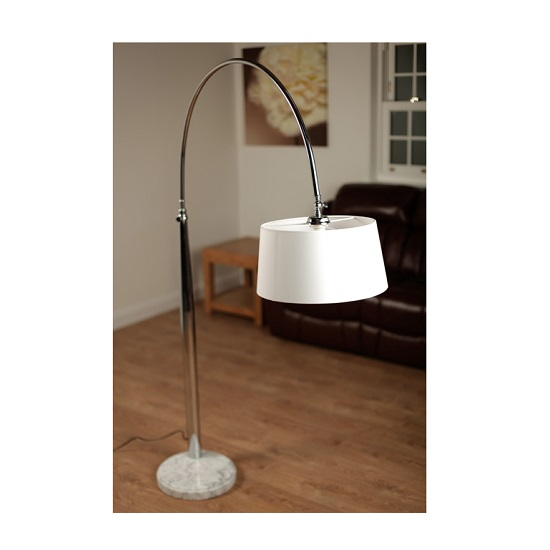 Hillary Floor Lamp In Cream With Chrome Plated Marble Base