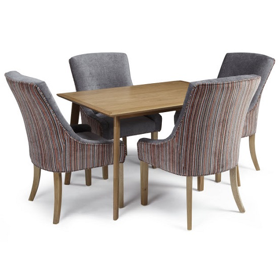Wilmington Dining Table In Oak With 4 Hannah Steel Orange Chairs