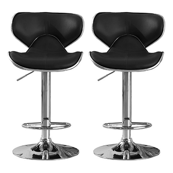 Hillside Black PU Leather Bar Stool In Pair With Chrome Base