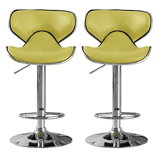 Hillside Lime PU Leather Bar Stool In Pair With Chrome Base