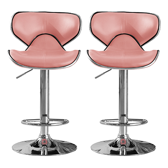 Hillside Pink PU Leather Bar Stool With Chrome Base In Pair