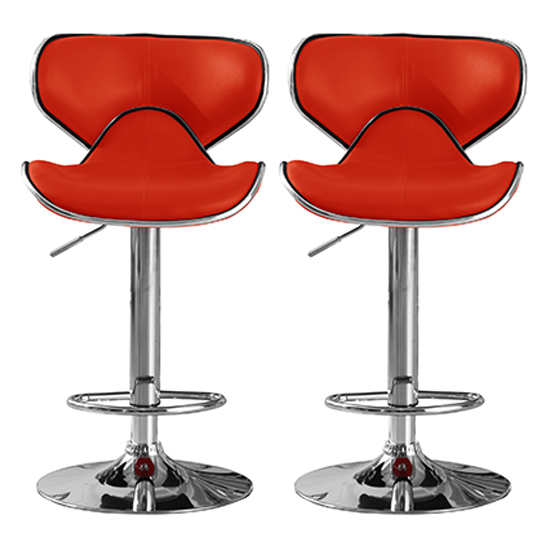 Hillside Red PU Leather Bar Stool With Chrome Base In Pair