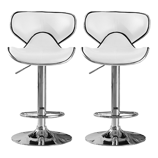 Hillside White PU Leather Bar Stool With Chrome Base In Pair