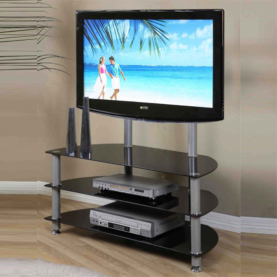 Hilton Black Glass LCD TV Stand With Silver support