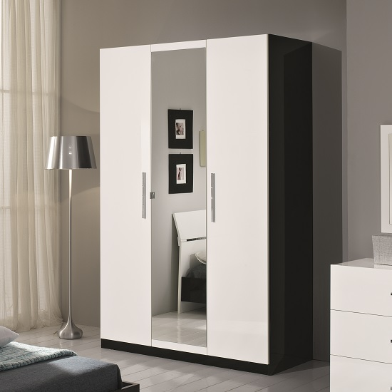 hilton mirrored wardrobe in black and white gloss with 3. Black Bedroom Furniture Sets. Home Design Ideas