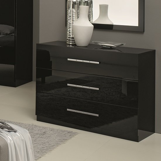 Hilton Chest Of Drawers In Black High Gloss With 3 Drawers