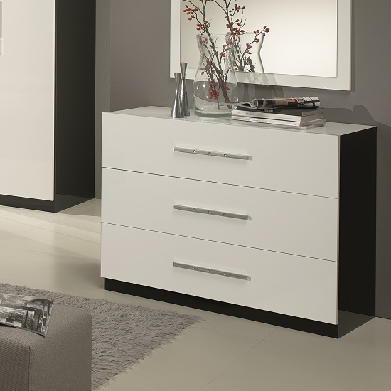 Photo of Hilton chest of drawers in black and white high gloss