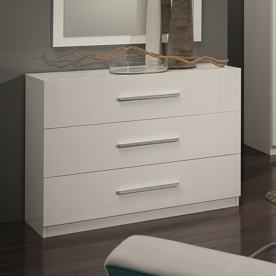 Hilton Chest Of Drawers In White High Gloss With 3 Drawers
