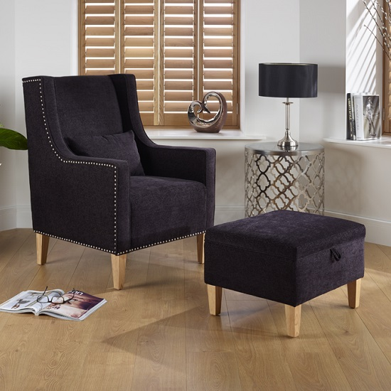 hilton fabric lounge chair with foot stool in aubergine