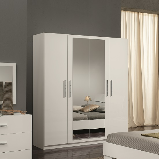 Hilton Mirrored Wardrobe In White High Gloss With 4 Doors