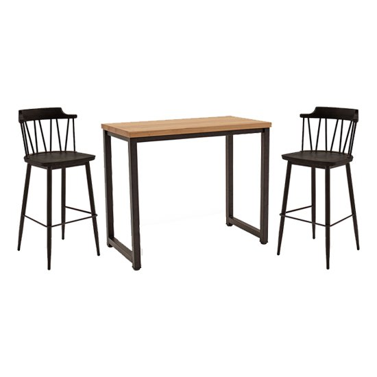 View Hinrik wooden bar table with 2 blake bar stools in black elm