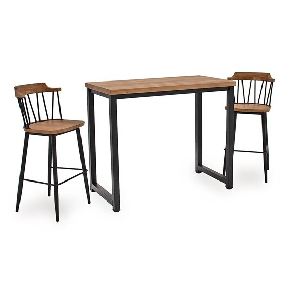 View Hinrik wooden bar table with 2 blake bar stools in natural elm