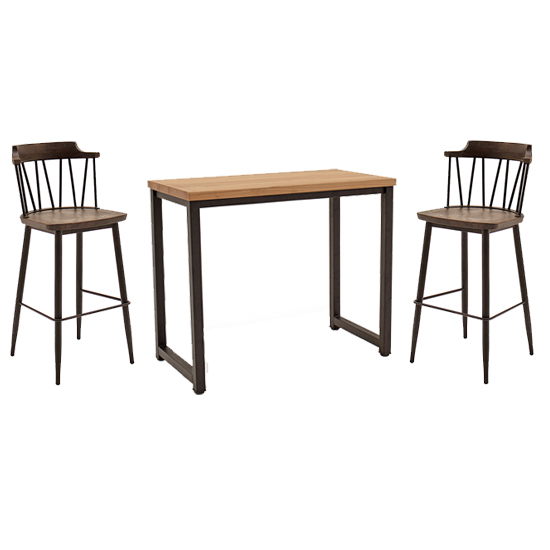 View Hinrik wooden bar table with 2 blake bar stools in rustic elm