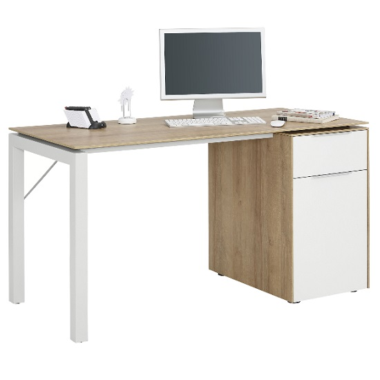 Hinson Wooden Computer Desk In Riviera Oak And Matt White