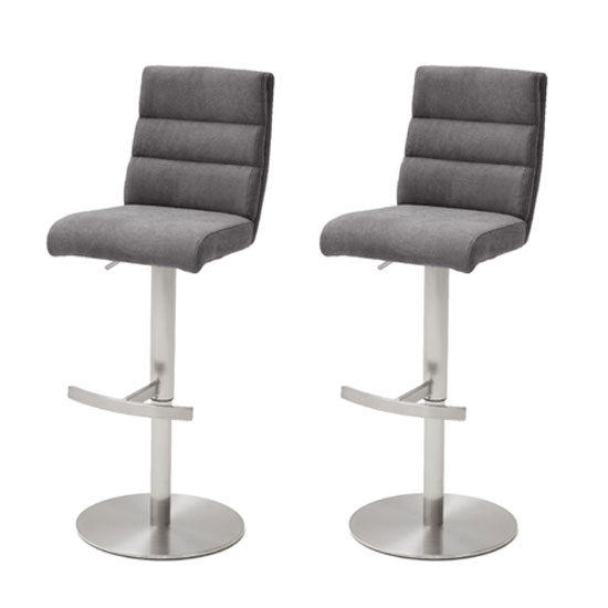 Hiulia Anthracite Fabric Bar Stool In Pair With Steel Base