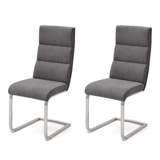 Hiulia Anthracite Fabric Cantilever Dining Chair In A Pair
