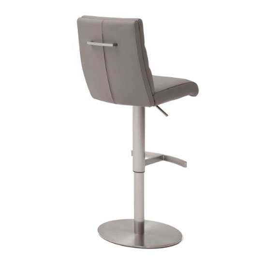 Hiulia Bar Stool In Brown With Stainless Steel Base_2