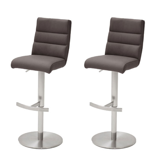 Hiulia Brown Leather Bar Stool In Pair With Steel Base