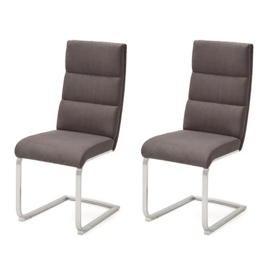 Hiulia Brown Leather Cantilever Dining Chair In A Pair
