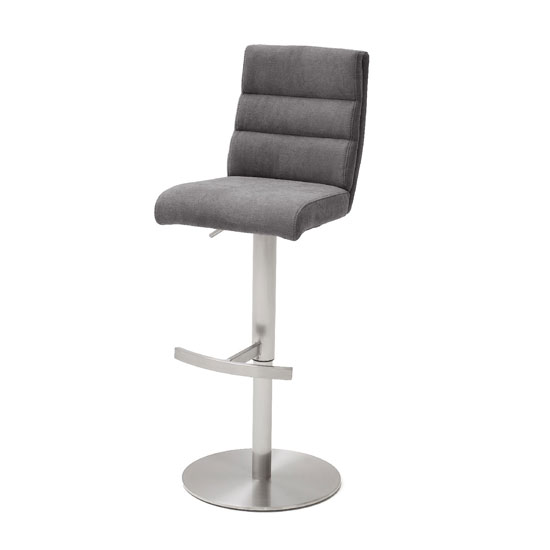 Hiulia Fabric Bar Stool In Anthracite With Steel Base