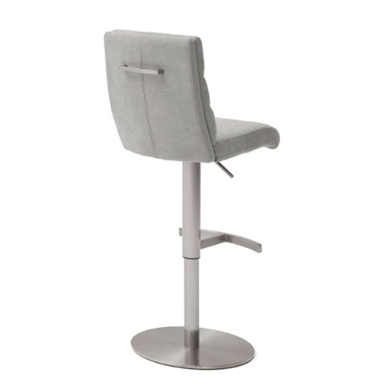 Hiulia Fabric Bar Stool In Brown With Steel Base_2