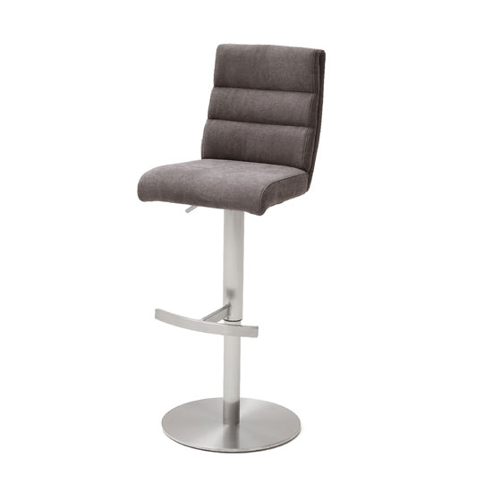 Hiulia Fabric Bar Stool In Brown With Steel Base