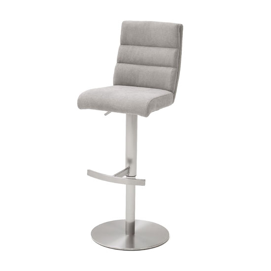 Hiulia Fabric Bar Stool In Ice Grey With Steel Base