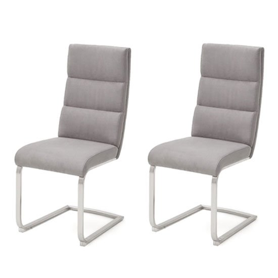 Hiulia Ice Grey Cantilever Dining Chair In A Pair
