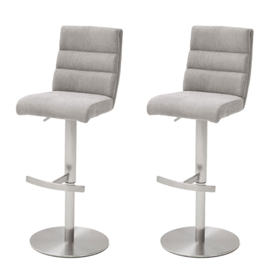 Hiulia Ice Grey Fabric Bar Stool With Steel Base In Pair