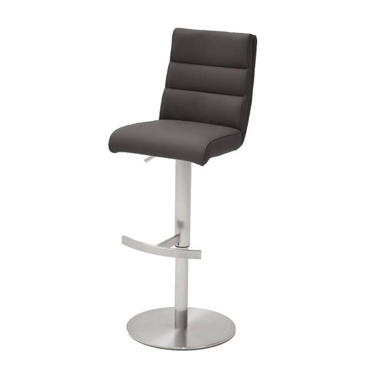 Hiulia Leather Bar Stool In Anthracite With Steel Base