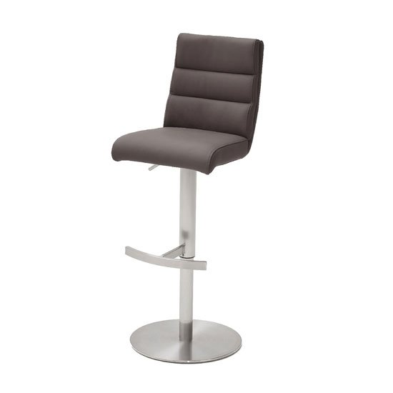 Hiulia Leather Bar Stool In Brown With Steel Base