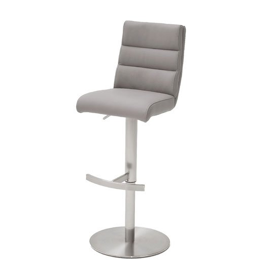 Hiulia Leather Bar Stool In Ice Grey With Steel Base_1