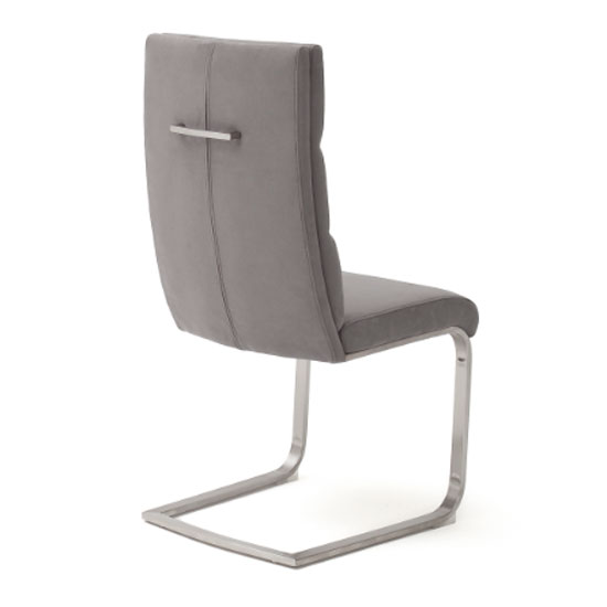 Hiulia Leather Cantilever Dining Chair In Ice Grey_2