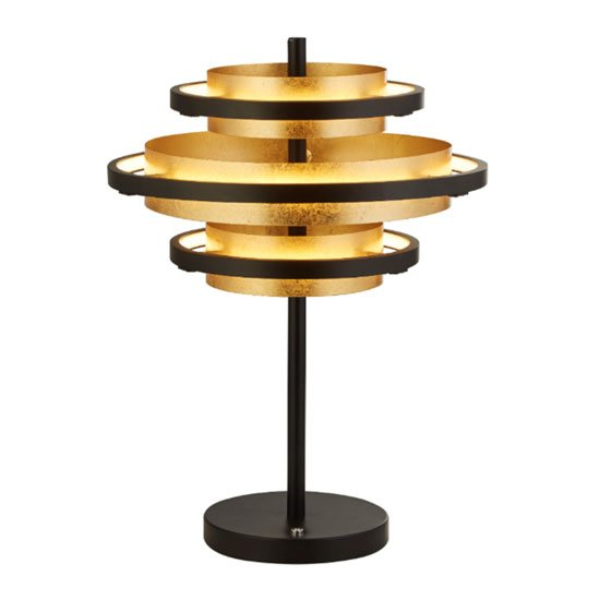 Hive 3 LED Table Lamp In Black And Gold Leaf