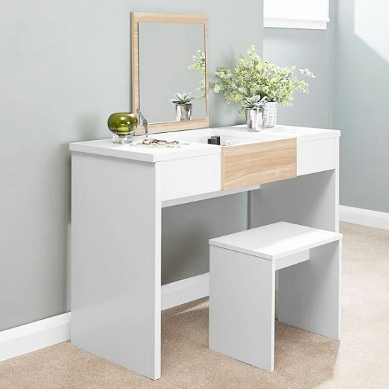 Frenzi Wooden Dressing Table Set In White And Oak