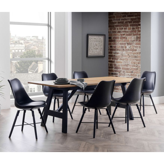 Hockley Dining Set In Oak And Black With 6 Kari Black Chairs
