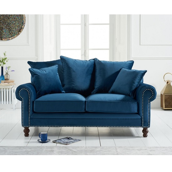 Image of Hoffman Modern 2 Seater Sofa In Blue Plush Fabric