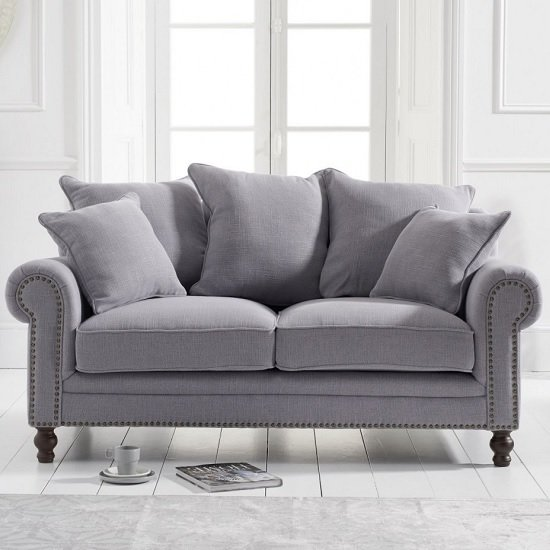 Hoffman Modern 2 Seater Sofa In Grey Linen Fabric_1