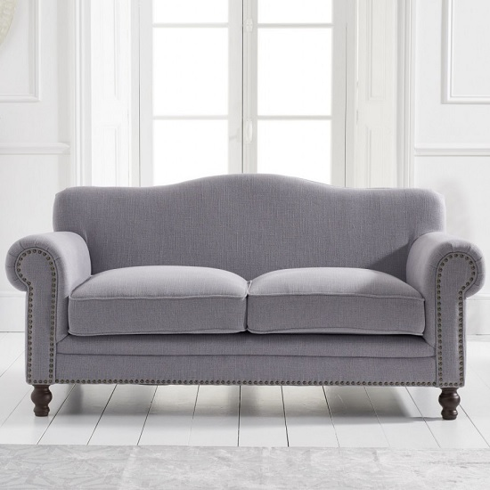 Hoffman Modern 2 Seater Sofa In Grey Linen Fabric_2