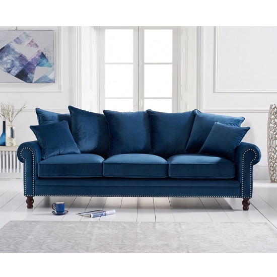 Image of Hoffman Modern 3 Seater Sofa In Blue Plush Fabric